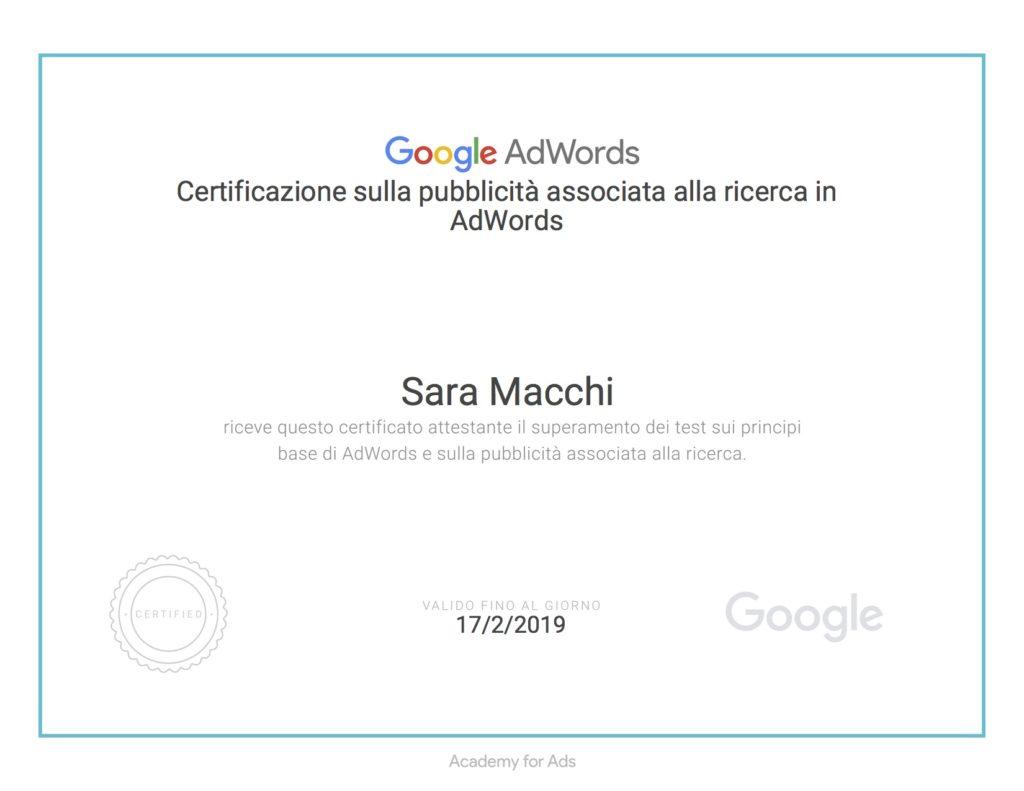 Certificazione Google rete di ricerca