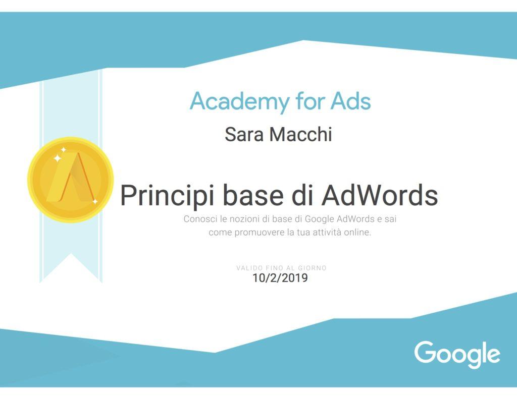 Certificazione Google Principi base di AdWords
